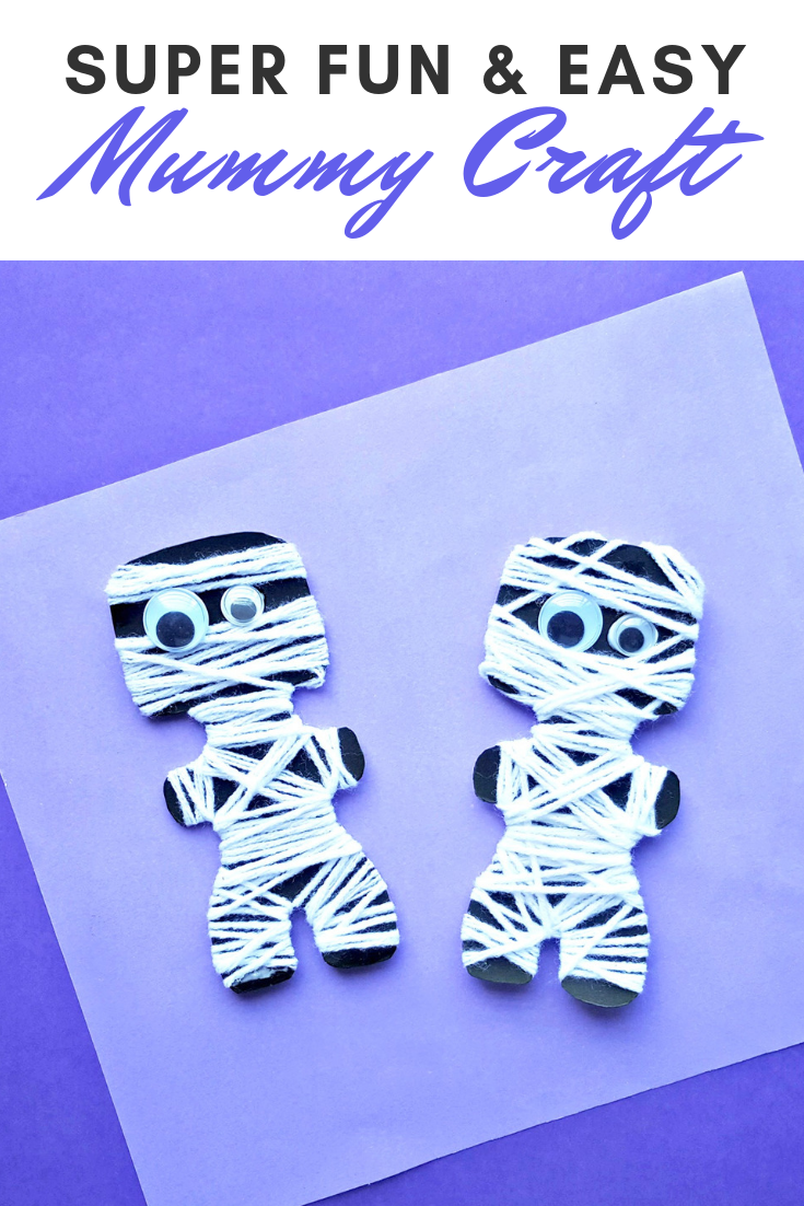 A banner reads, 'Super Fun and Easy Mummy Craft,' a picture below of two mummy crafts on a purple and white background.