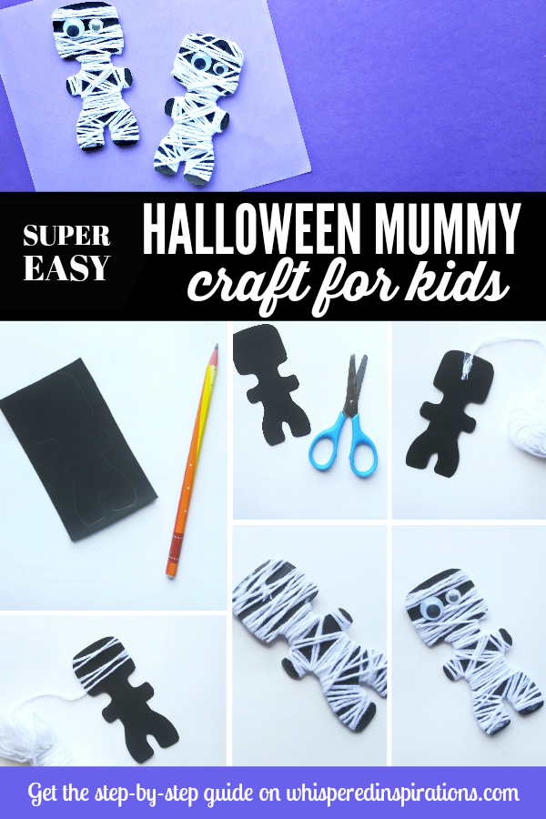 Easy Mummy Halloween Craft for Kids! If your kids love to craft as much as mine do, they're going to love this super cute and easy mummy craft. #craftsforkids #kidscrafts #halloweencrafts