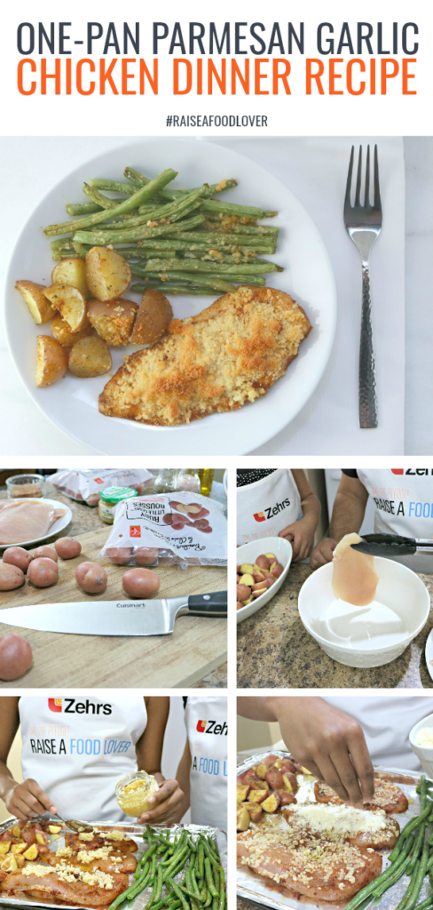 One-Pan Parmesan Garlic Chicken! Try this recipe out! Zehrs is asking all Canadians to take the pledge to raise a food lover and get cooking in the kitchen! #recipe #easyrecipes