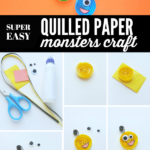 Step-by-Step Quilled Paper Monsters Craft for Kids. If your children love to craft, they will love this quilled paper monsters craft! Spooky, funny & silly! #craft #DIY #monsterscraft #kidscraft