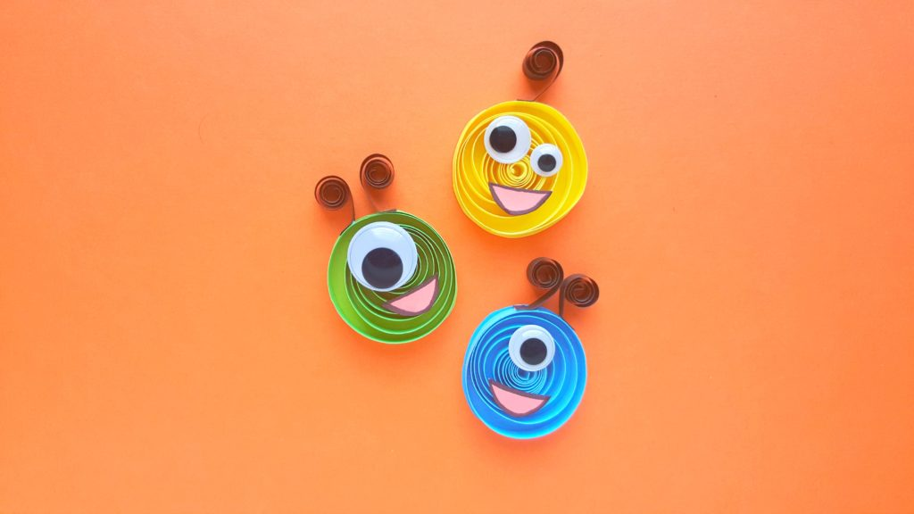 The Quilled Paper Monsters craft completed. Super adorable with googly eyes and antennas.