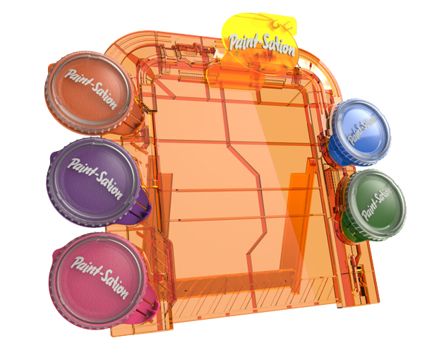 A Paint-Sation easel is shown with full paints.