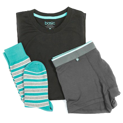 The inside contents of Basic Man, a pair of socks, underwear, and t-shirt are shown.