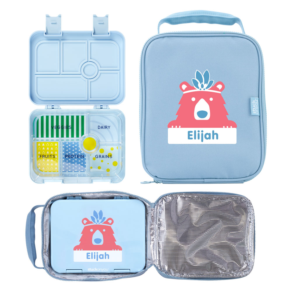 A lunch bag with a bento box that is personalized is shown.