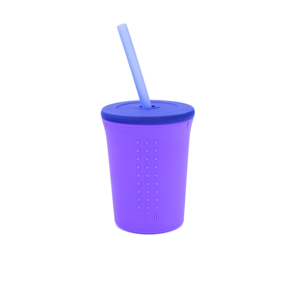 A purple silicone cup with a straw from GoSili.
