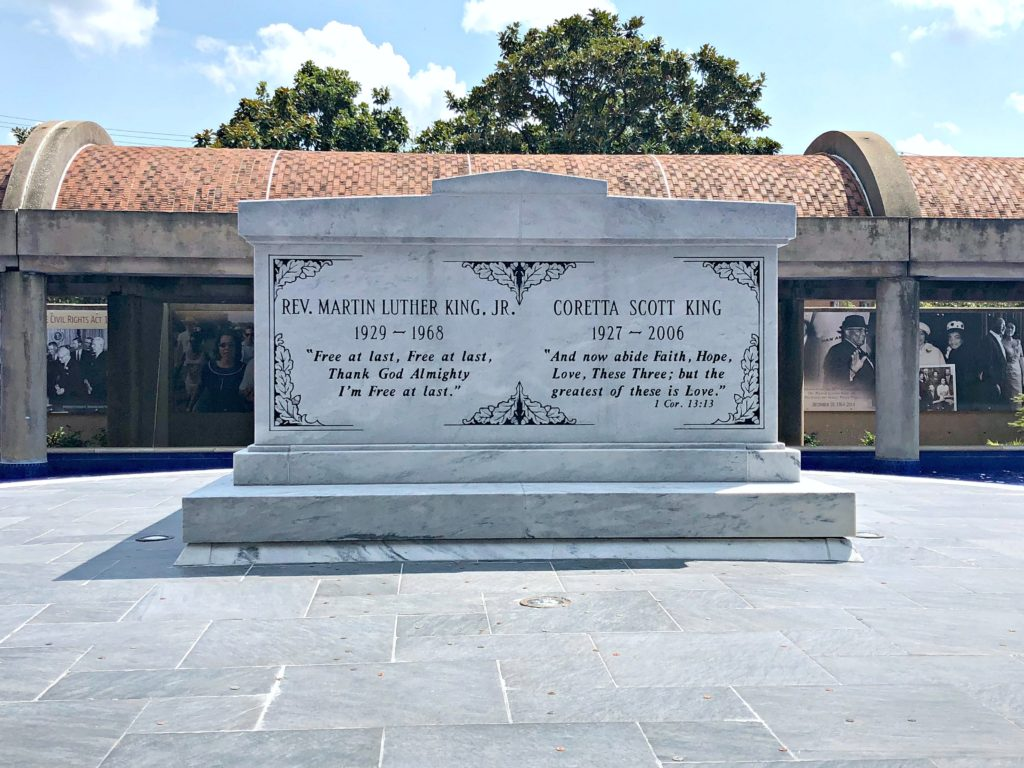 The final resting place of Martin Luther King and Coretta Scott King is shown.