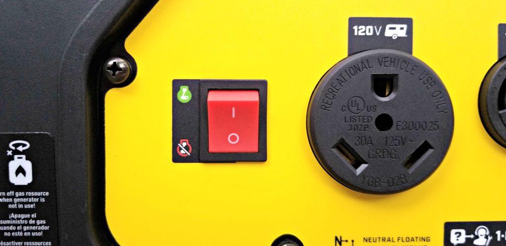 The on-switch on the Champion generator.