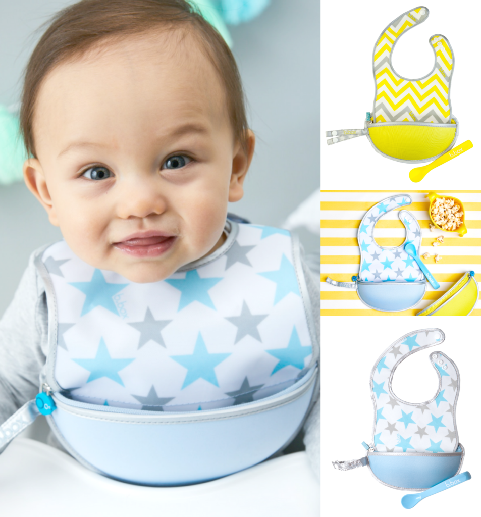 A little baby wears a bbox big and the big is shown my itself and in use.