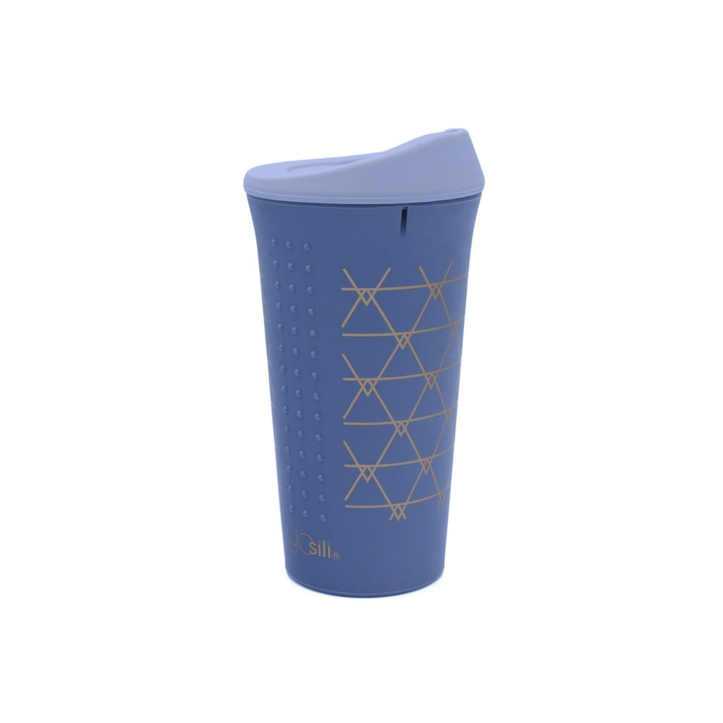 A pretty purple silicone cup is shown with a golden triangle design.