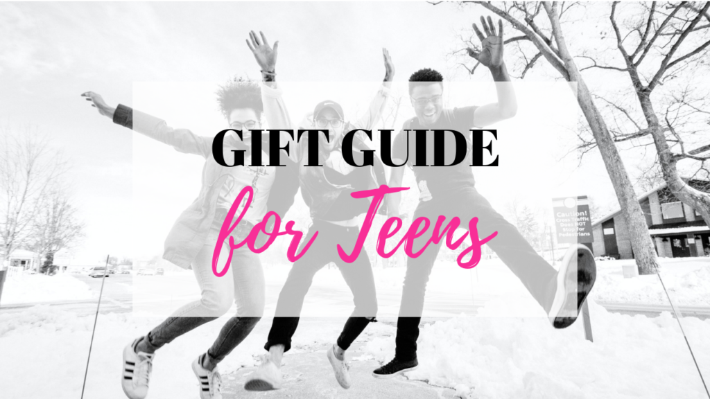 Gift Guide for Teens is displayed on top of a teens who are happy and jumping in the air.