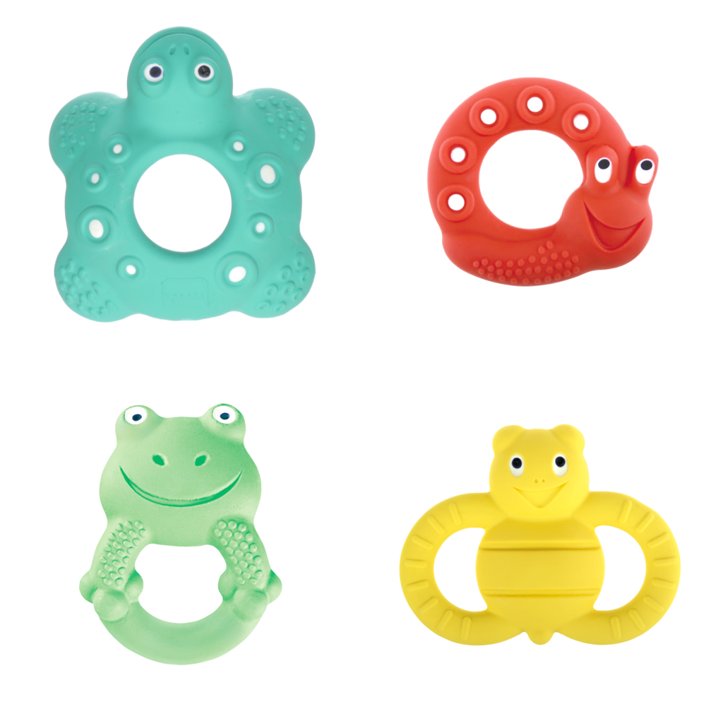 A group of super cute animal teethers in every color. Teal, green, red, and yellow.