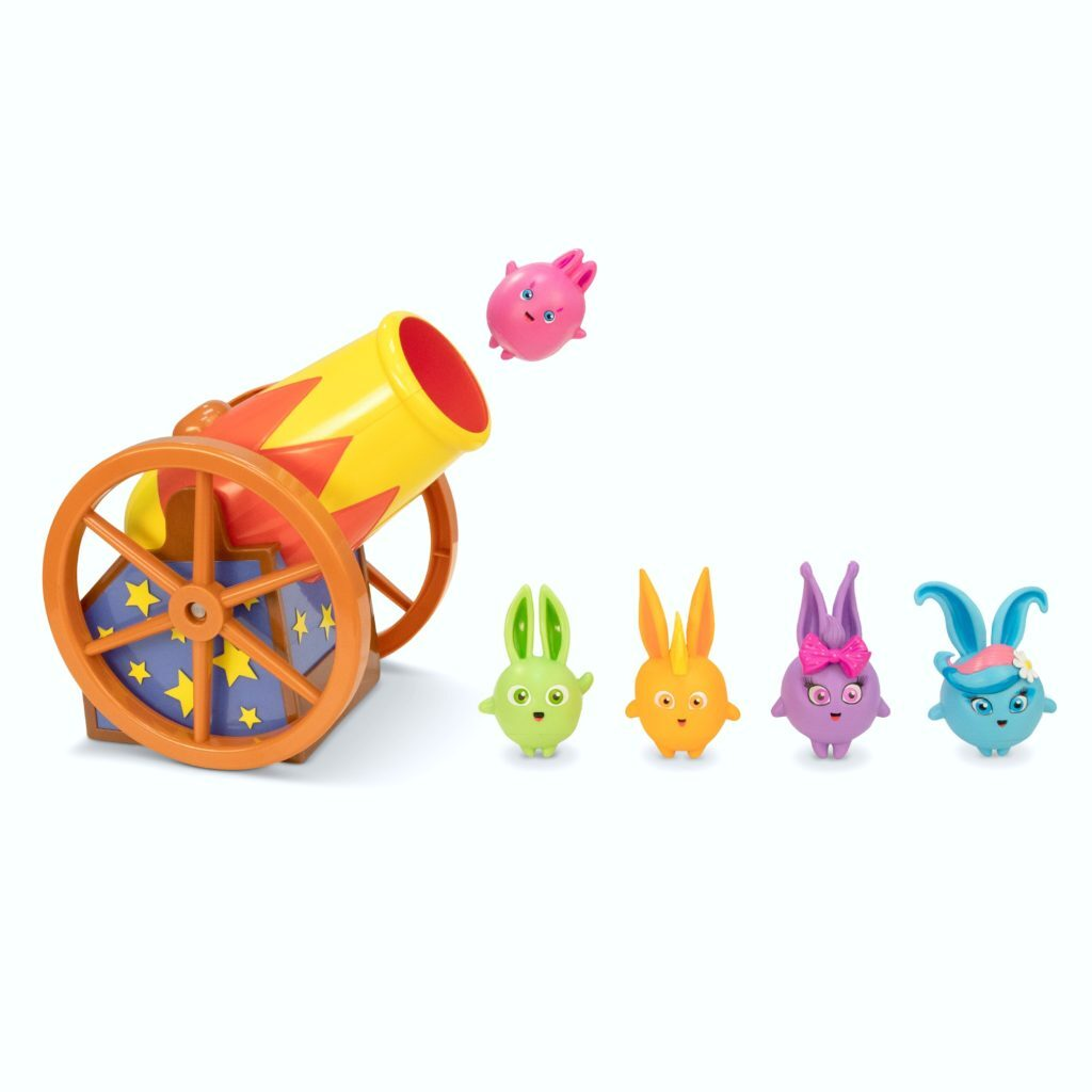 Sunny Bunnies being shot out of a cannon.