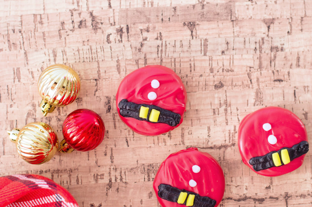 Chocolate Covered Santa Hat Oreos.