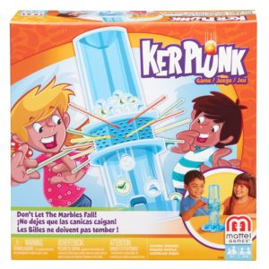 The game of Kerplunk is shown in the box.