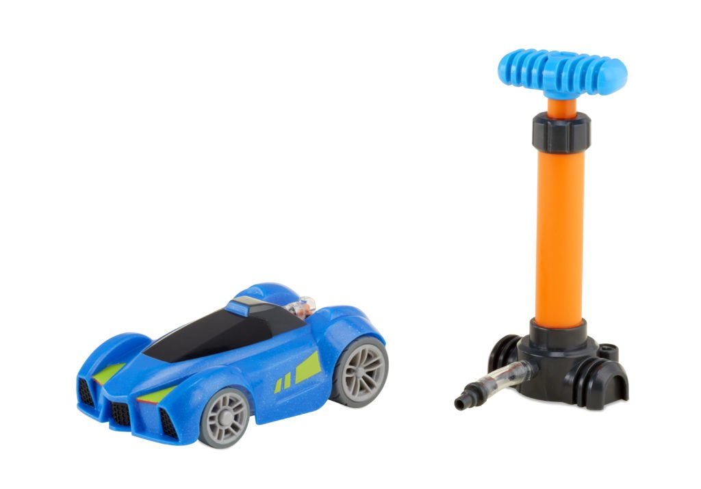 A blue toy car is shown next to the air launcher.
