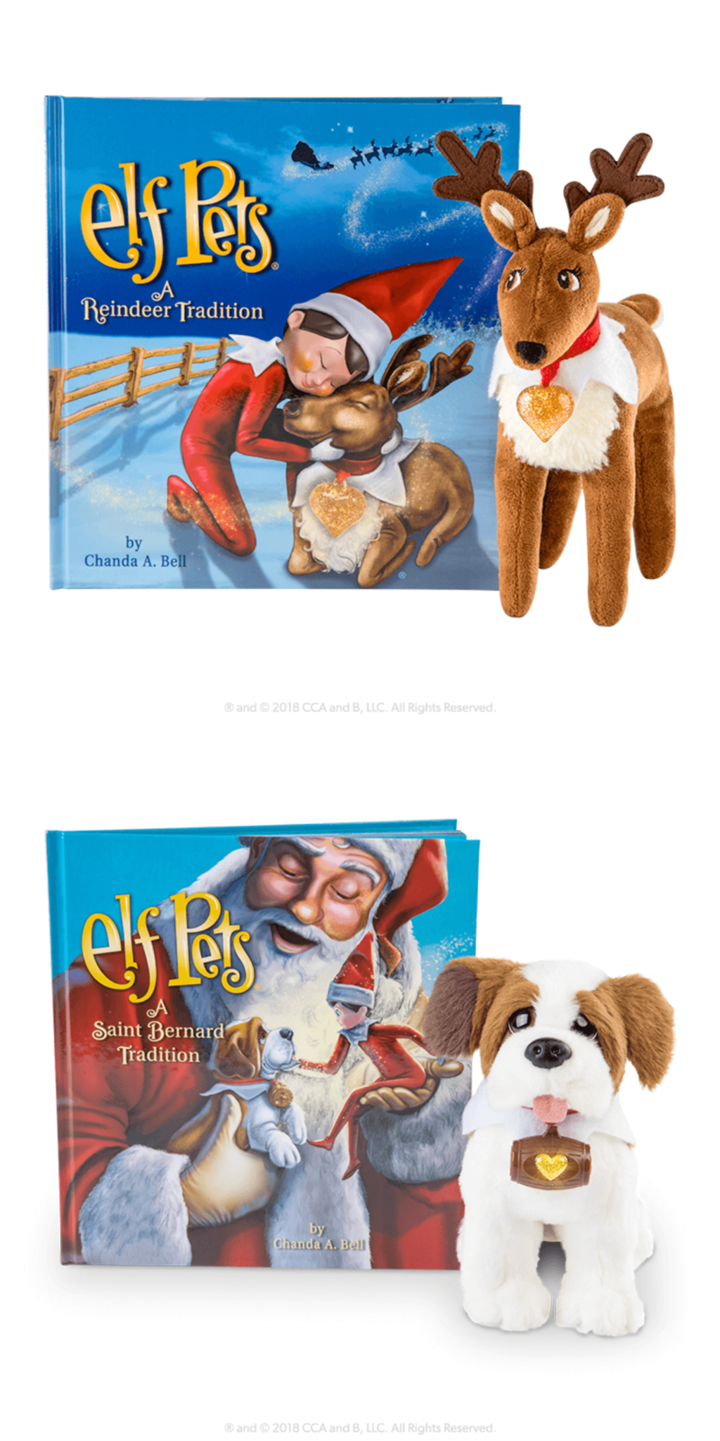 Elf Pets in Reindeer and Saint Bernard.