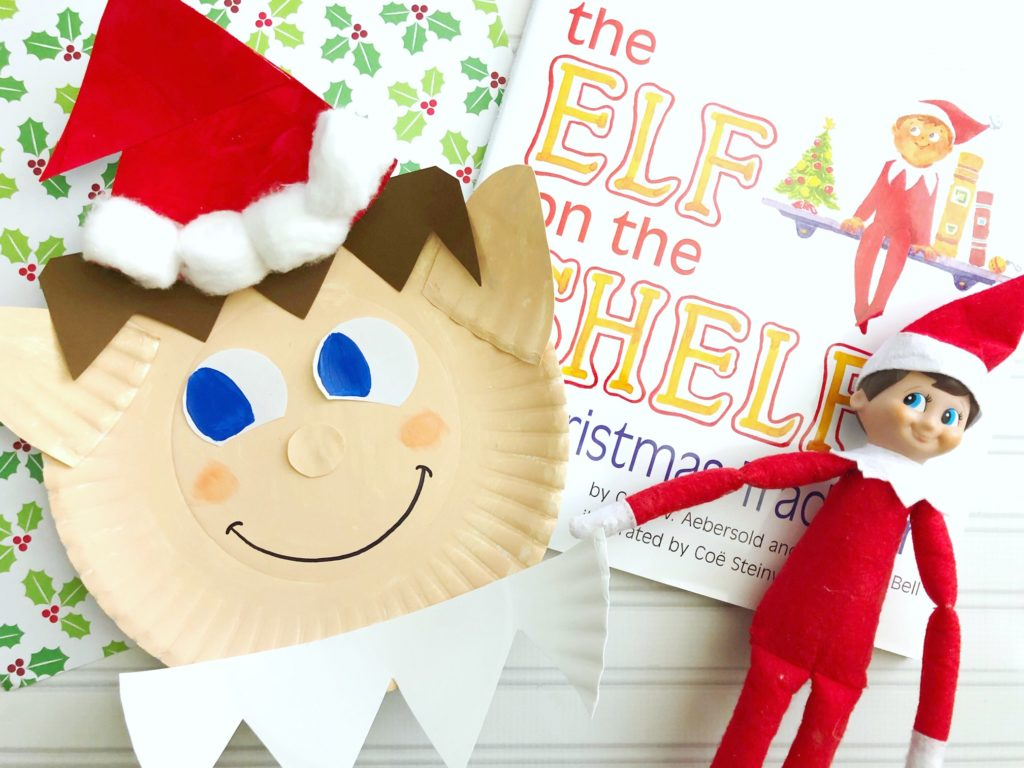 Elf on the Shelf paper plate craft for kids.