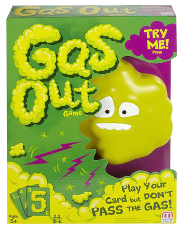 The Gas Out game box is shown with the words Try Me on it.