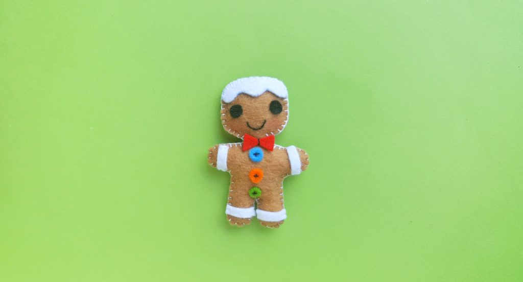 Final product of the Gingerbread Man Christmas Ornament.