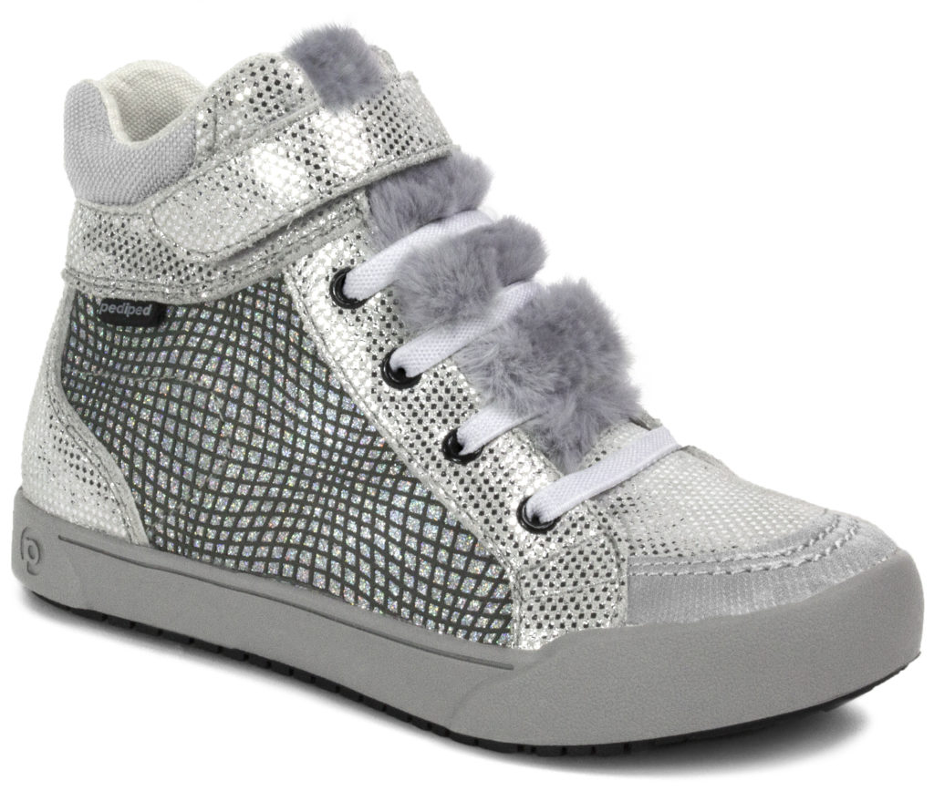 A silver and furry shoe for kids from PediPed.