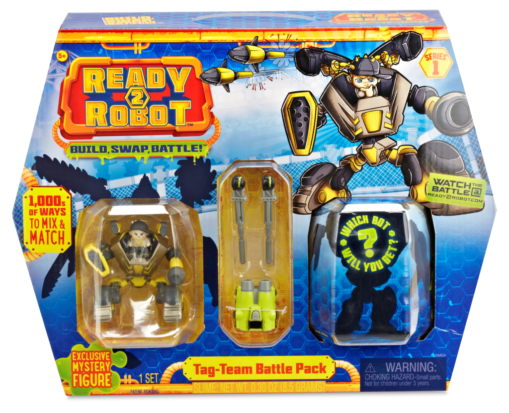 Ready2Robot Tag-Team Battle Pack are shown inside the box.