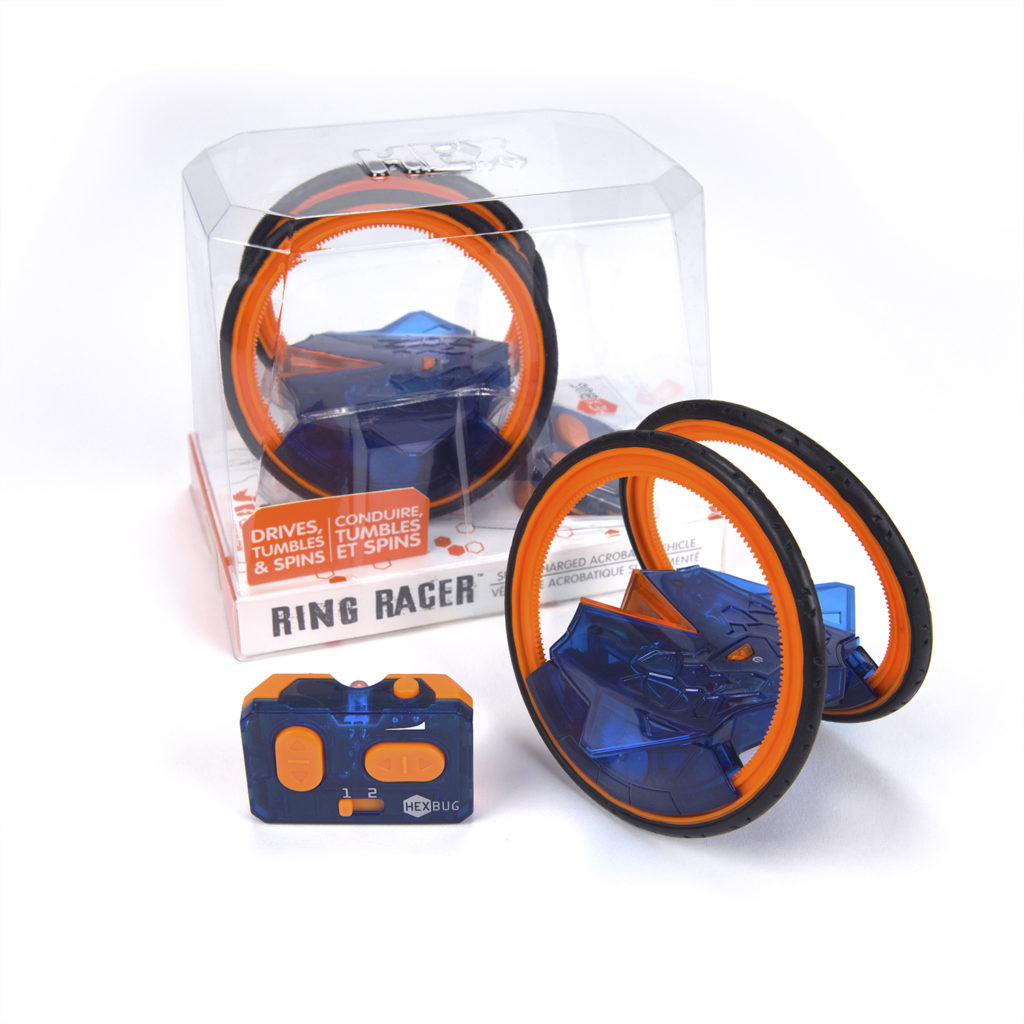 HEXBUG Ring Racer shown outside the box with a remote control, it's orange and blue.