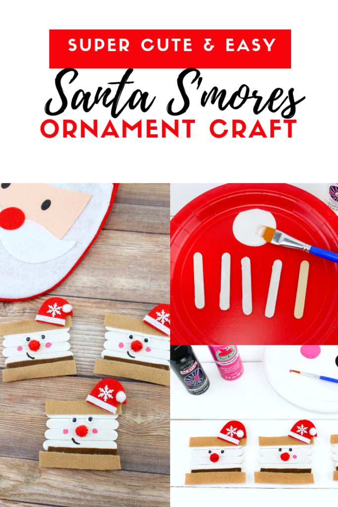 Love to craft during the holidays? Make this Super Easy and Cute Santa S'mores ornament craft. Use this step-by-step guide! #HolidayCrafts #Crafts #Ornaments #KidsCrafts