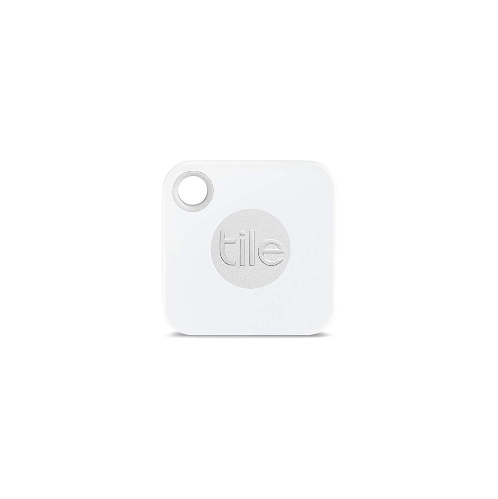 A Tile Mate in white and silver.