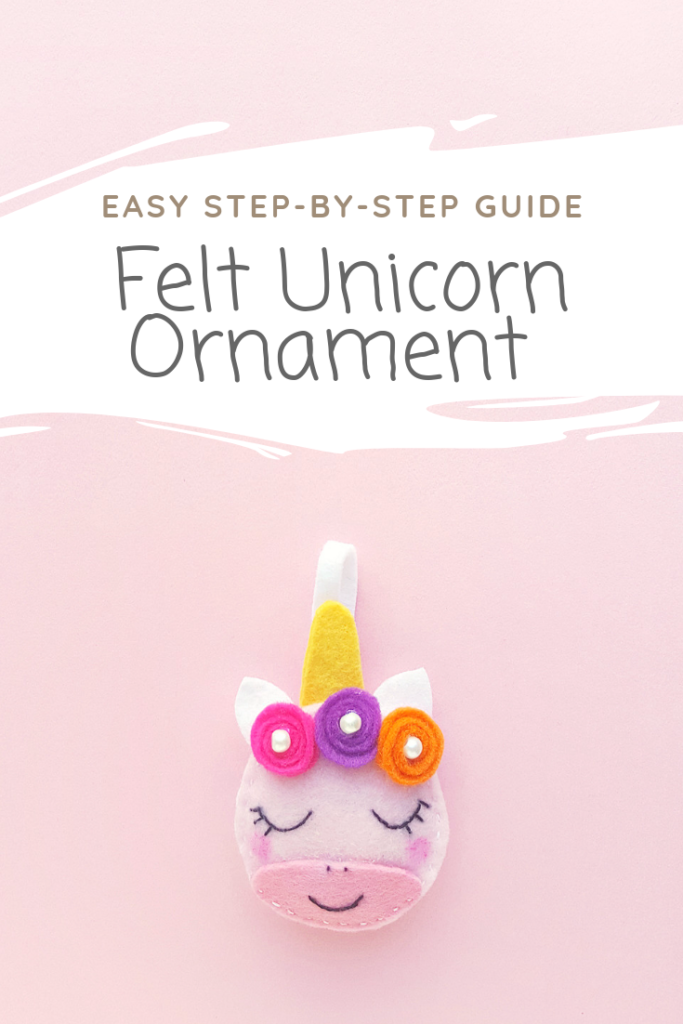 Portrait of a unicorn ornament.