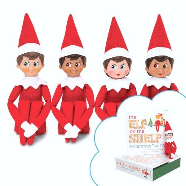 A group of different Elf on the Shelf scout elves.