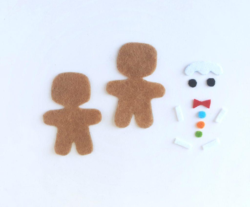Gingerbread Man cutouts in felt.