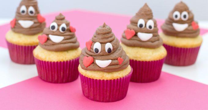 Super Easy Poop Emoji Cupcakes