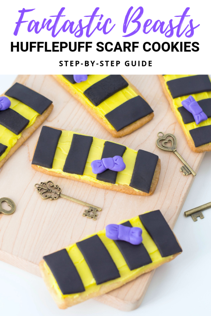Celebrate the new Fantastic Beasts film.Try these cute Fantastic Beasts Newt's Hufflepuff Scarf Cookies! #FantasticBeasts #NewtScamander #Hufflepuff
