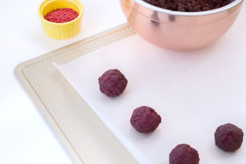Close up of red velvet truffles before being dipped.