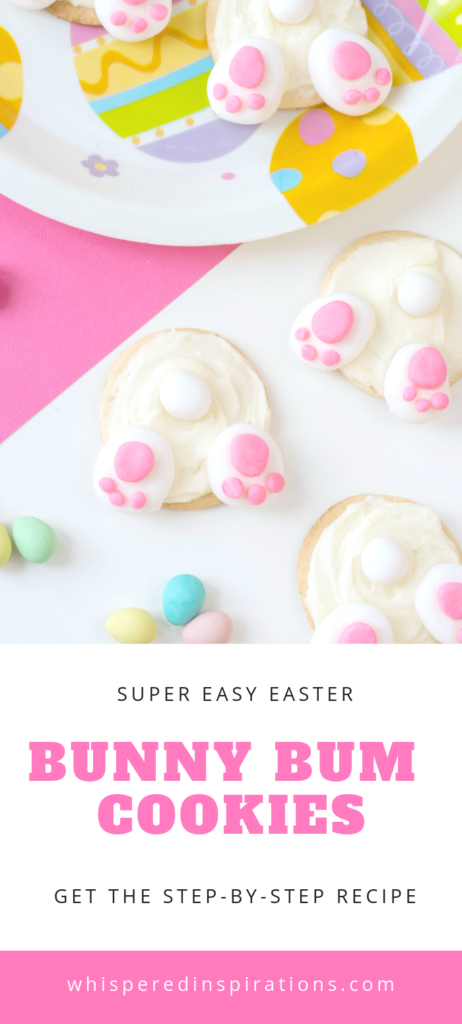 Easter in our house is all about the treats. Chocolate eggs, marshmallows, and everything bunny!  We decided to make these super cute bunny bum cookies! Sweet sugar cookies, frosting, and fondant. It really doesn't get more Easter treat-ish than that! #eastertreats #easterrecipes #easterbunny