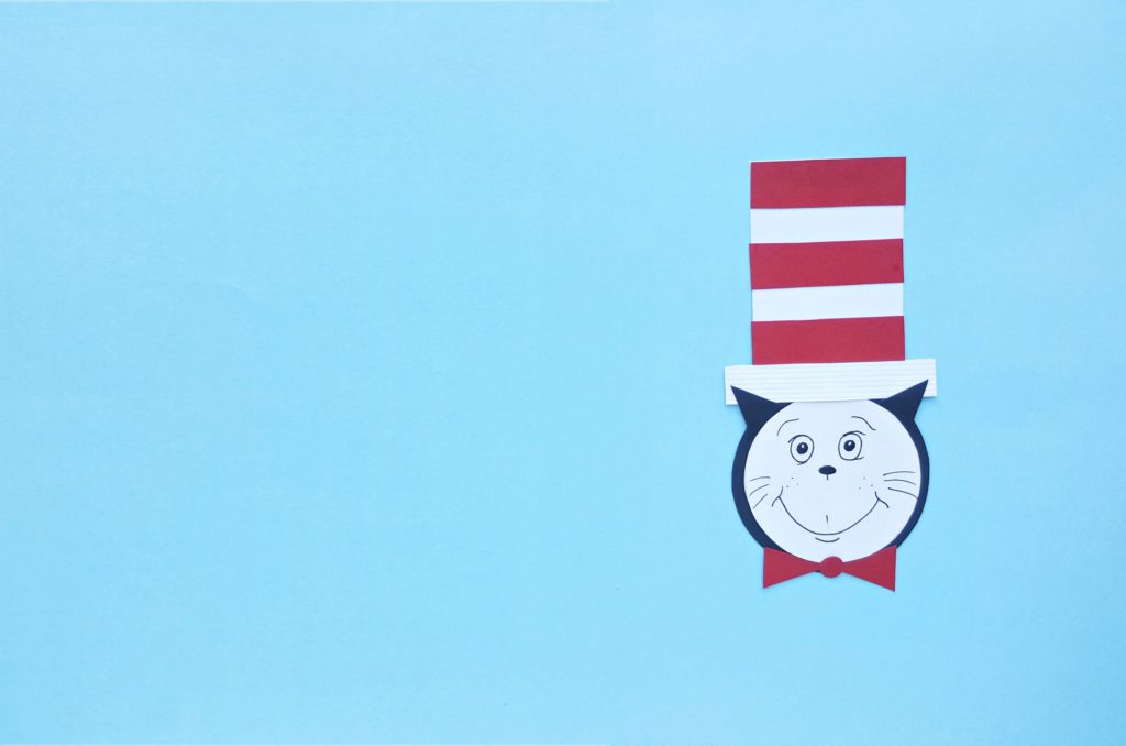 The final Cat in the Hat craft project against a blue background.
