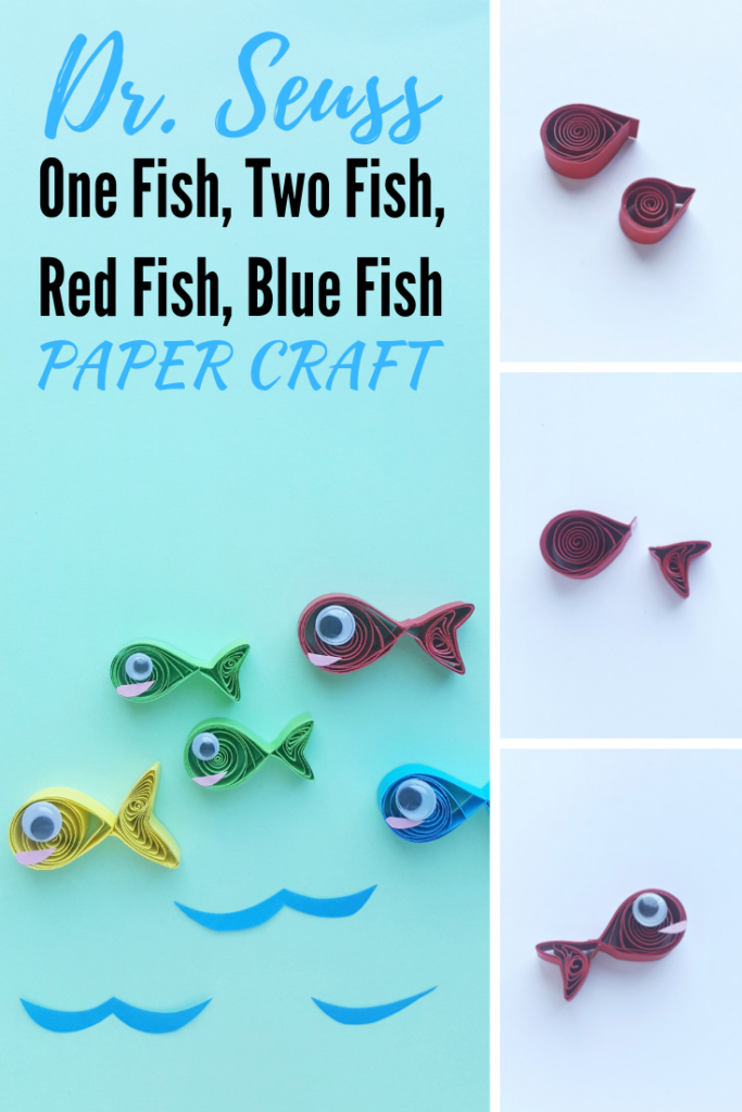 If you're a parent or teacher reading your kids Dr. Seuss books, you'll love this One Fish, Two Fish, Red Fish, Blue Fish Paper Craft! #DrSeuss #DrSeussDay #DrSeussCrafts