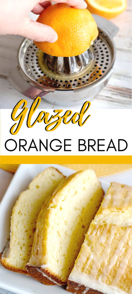 This Glazed Orange Bread is infused with seasonal citrus and then topped with a sweet orange glaze. It really is amazing. Baked to perfection--so good! #breadrecipes #orangebread #easyrecipes