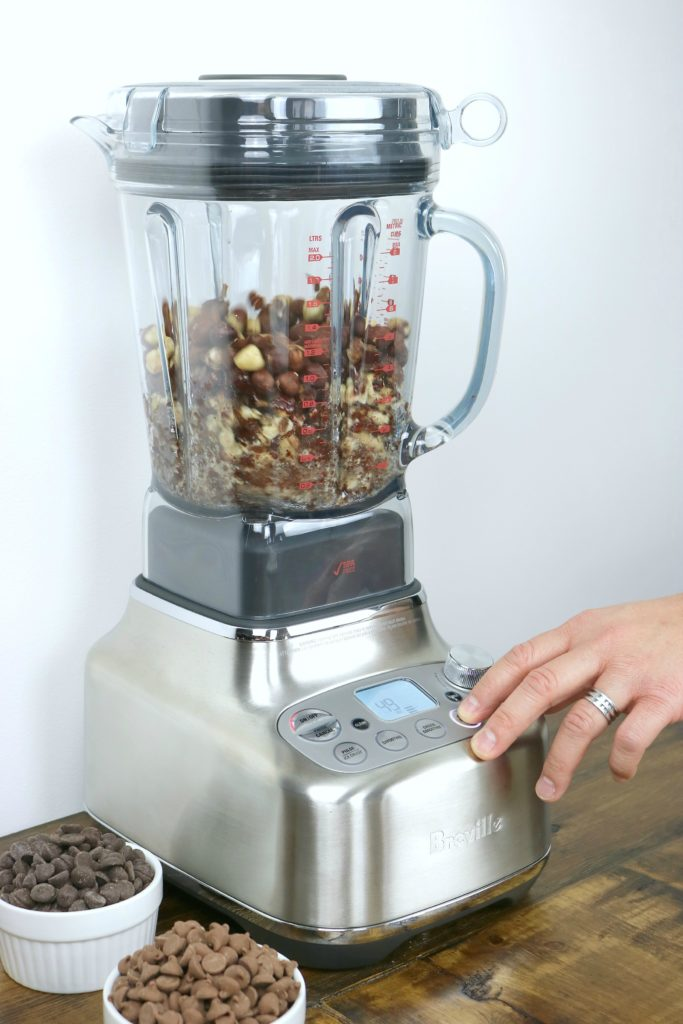 Hazelnuts being blended in the Breville Super Q blender.