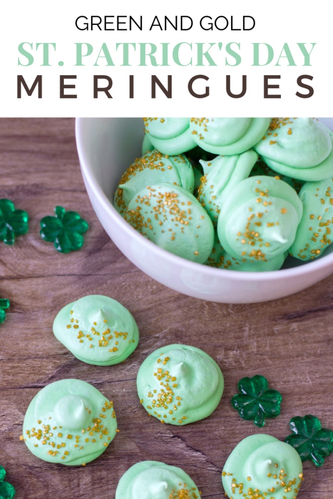 "Instead of a pot of gold, how about a bowl of green meringue medallions with a touch of gold? Share the ""wealth"" with these St. Patrick's Day meringues! #tips #recipes #stpatricksday"
