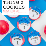 """Thing 1 and Thing 2 cookies on a blue and white background, surrounded by red balls. A banner reads, """"Dr. Seuss Thing 1 7 Things 2 Cookies."""""""