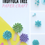"3 quilled paper truffula tree craft on a white and yellow background. A banner reads, ""Dr. Seuss Truffula Tree Quilled Paper Craft."""