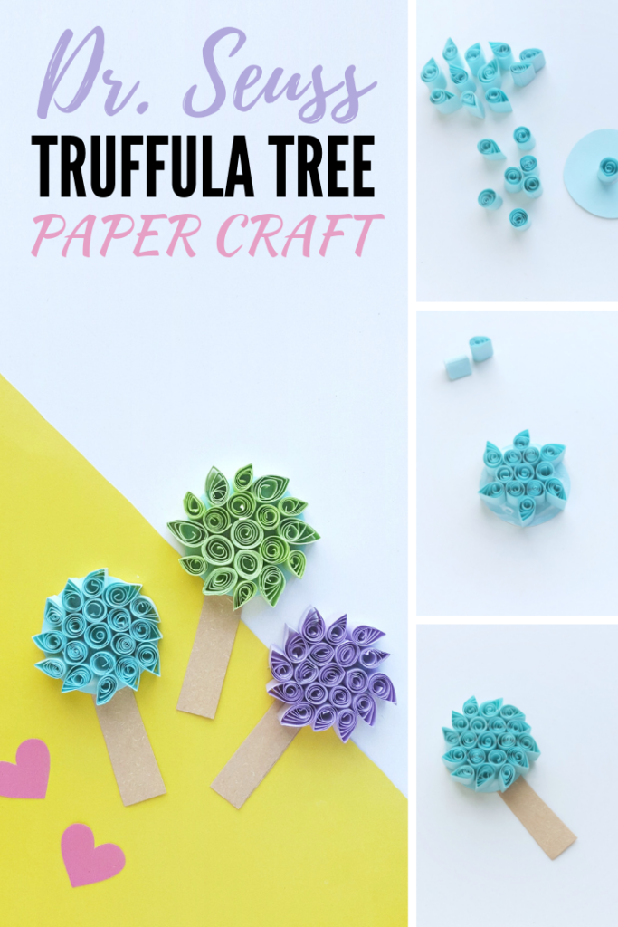 Celebrate Dr. Seuss' Birthday and the official Dr. Seuss Day, with this truffula tree paper craft. The very ones you see throughout his tale of the Lorax! #DrSeuss #DrSeussDay #DrSeussCrafts #TheLorax