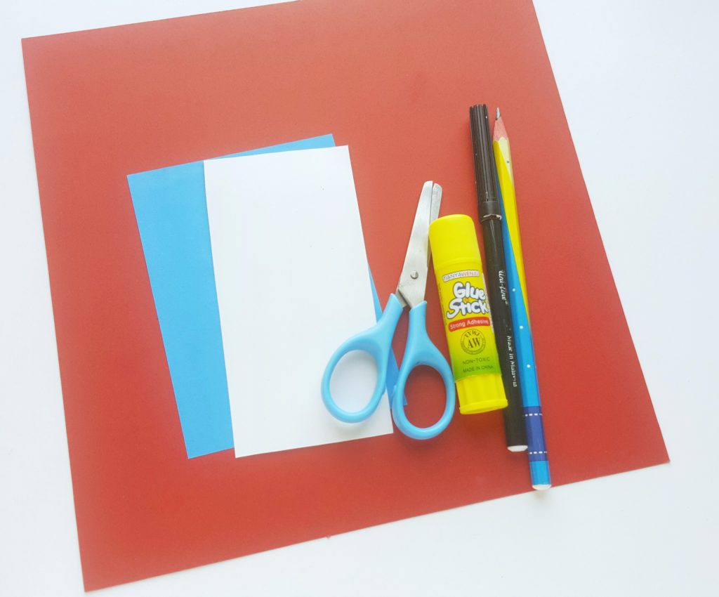 The art supplies needed for Thing 1 and Thing 2 paper craft.