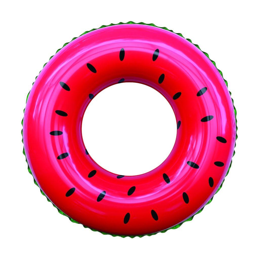 A pool float shaped like and designed like a watermelon.
