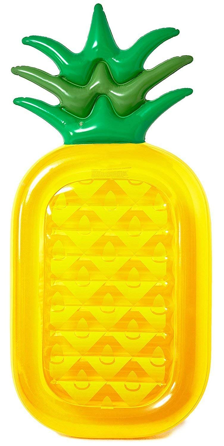 A yellow and green pineapple float.