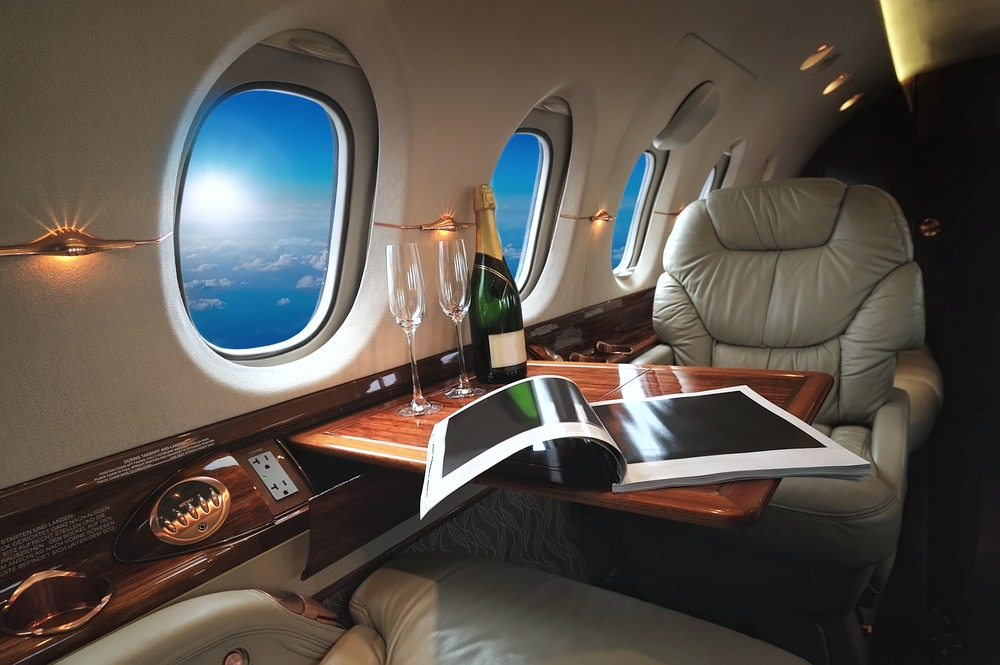 A show of the inside of a private jet.
