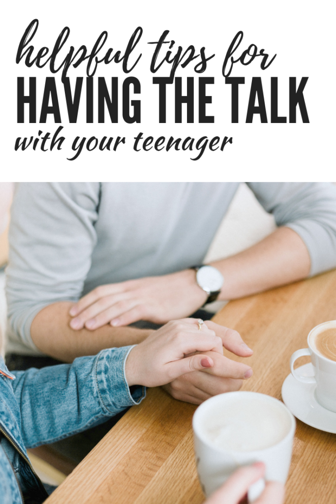 "A banner that says ""helpful tips for having the talk with your teenager"" with a picture of two people talking over coffee."