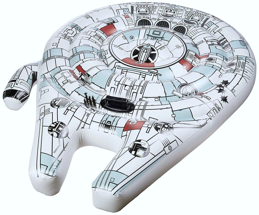 The Millennium Falcon as a pool float, exact replica with design printed on the exact shape.