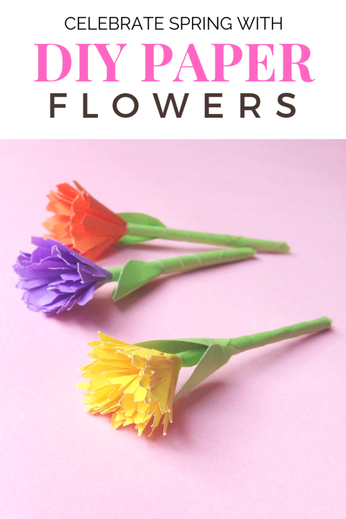 A picture of DIY paper flowers with a banner saying, 'Celebrate Spring with DIY Paper Flowers'.